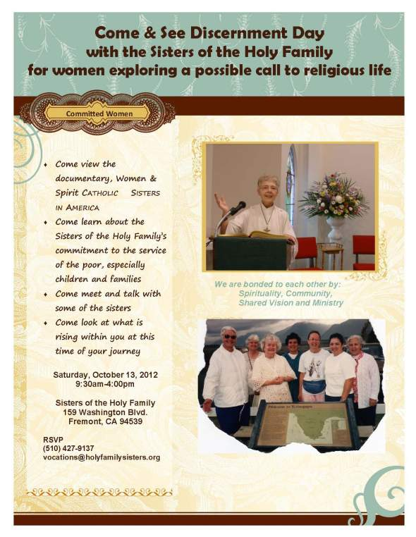 Come & See Discernment Day with the Sisters of the Holy Family for women exploring a possible call to religious life